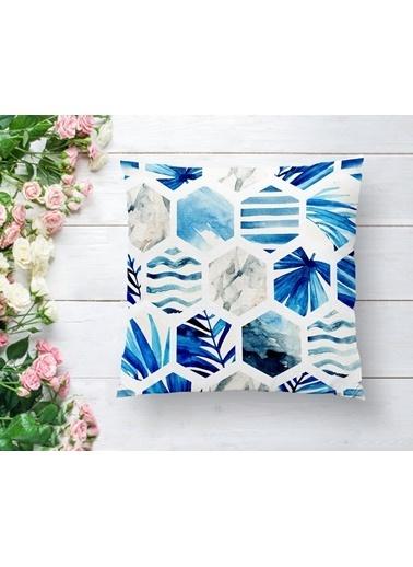 Real Homes Mavi Temalı Geometrik Şekilli Dekoratif Yastık Kırlent Kılıfı Renkli
